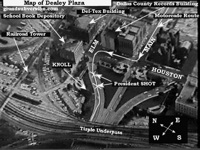 map of dealley plaza dallas jfk motorcade where kennedy was shot